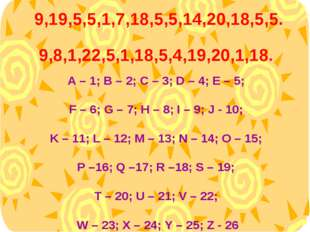 A – 1; B – 2; C – 3; D – 4; E – 5; F – 6; G – 7; H – 8; I – 9; J - 10; K – 1