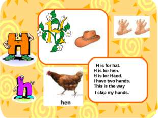 H is for hat. H is for hen. H is for Hand. I have two hands. This is the way