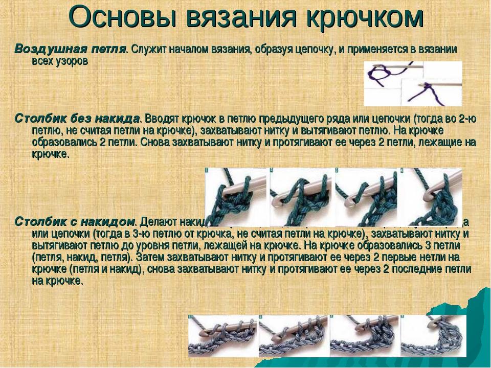Основы вязания крючком Воздушная петля. Служит началом вязания, образуя цепоч...