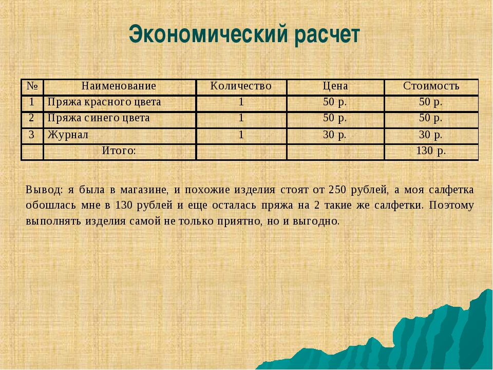 Примеры расчетов по схеме