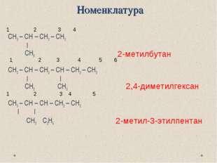 Номенклатура СН3 – СН – СН2 – СН3   CH3 CH3 – CH – CH2 – CH – CH2 – CH3    