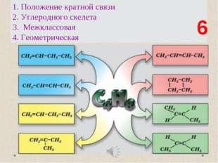 Назовите виды изомерии. Сколько веществ? 1. Положение кратной связи 2. Углеро
