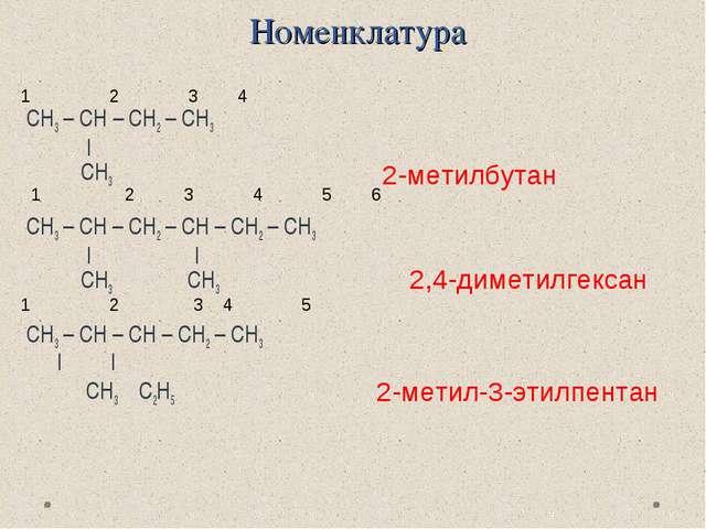 Номенклатура СН3 – СН – СН2 – СН3   CH3 CH3 – CH – CH2 – CH – CH2 – CH3    ...