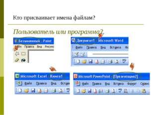 Кто присваивает имена файлам? Пользователь или программа?.