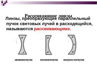 Рассеивающие линзы Линзы, преобразующие параллельный пучок световых лучей в р