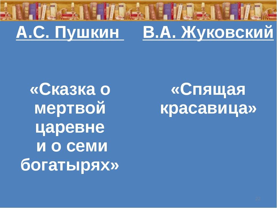 * А.С. Пушкин «Сказка о мертвой царевне и о семи богатырях» В.А. Жуковский «...