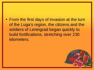 From the first days of invasion at the turn of the Luga's region, the citize