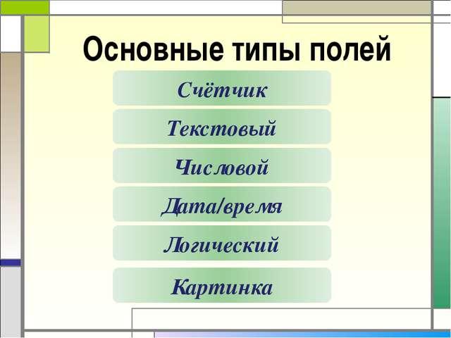 Основные типы полей Счётчик Текстовый Числовой Логический Картинка Дата/время