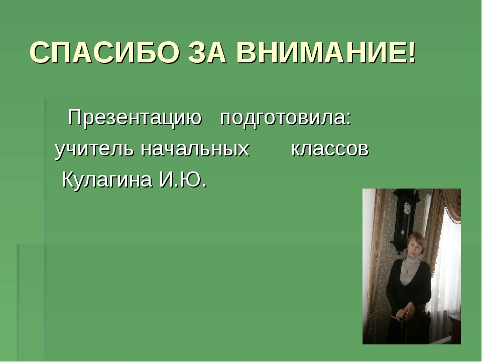 СПАСИБО ЗА ВНИМАНИЕ! Презентацию подготовила: учитель начальных классов Кулаг...