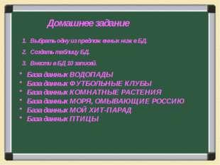 База данных ВОДОПАДЫ База данных ФУТБОЛЬНЫЕ КЛУБЫ База данных КОМНАТНЫЕ РАСТЕ