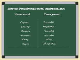 Задание: для следующих полей определить тип. Страна Текстовый Столица Числово