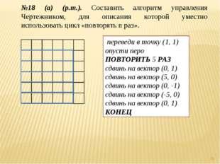 * №18 (а) (р.т.). Составить алгоритм управления Чертежником, для описания кот