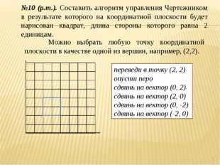 * №10 (р.т.). Составить алгоритм управления Чертежником в результате которого