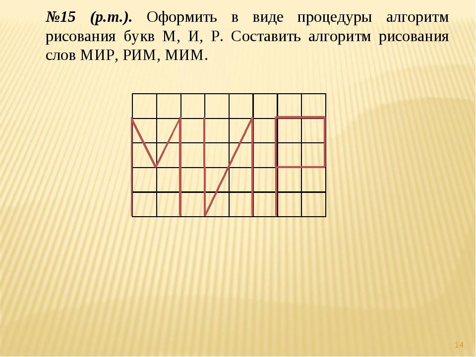 * №15 (р.т.). Оформить в виде процедуры алгоритм рисования букв М, И, Р. Сост...