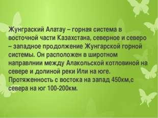 Жунграский Алатау – горная система в восточной части Казахстана, северное и с