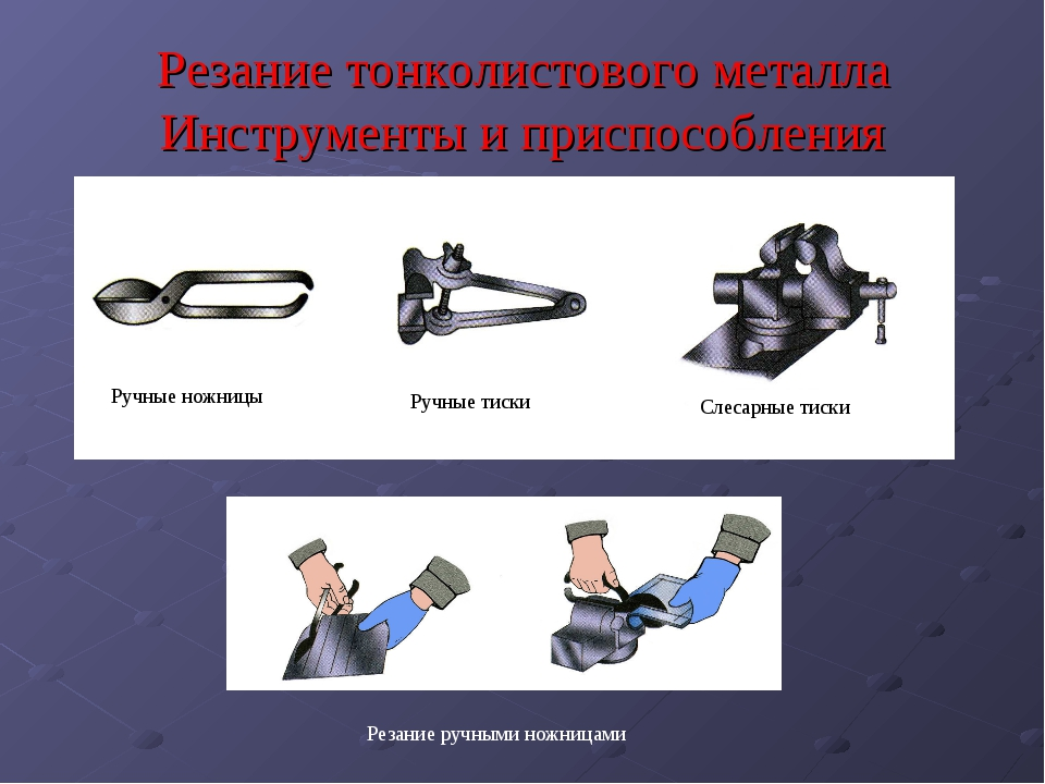 Резание тонколистового металла Инструменты и приспособления Ручные ножницы Ру...