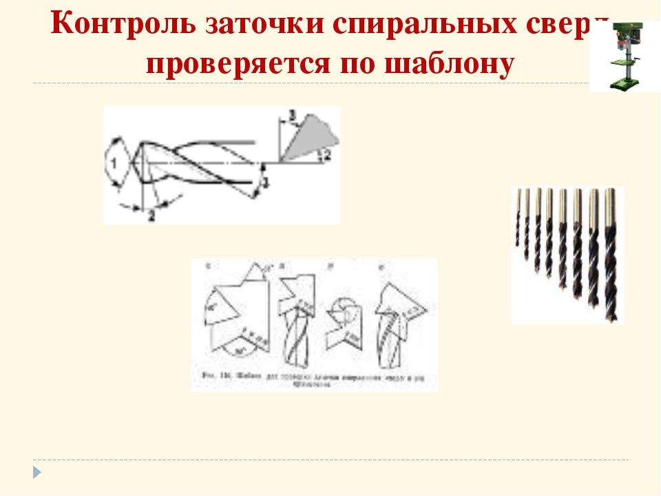 Контроль заточки спиральных сверл проверяется по шаблону