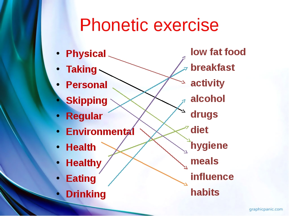 Phonetic exercise Physical Taking Personal Skipping Regular Environmental Hea...
