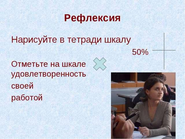 Рефлексия Нарисуйте в тетради шкалу 50% Отметьте на шкале удовлетворенность с...