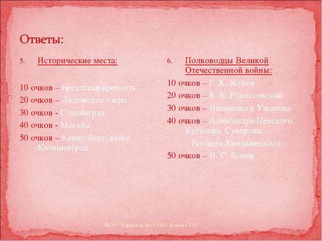 Исторические места: 10 очков – Брестская крепость 20 очков – Ладожское озеро...