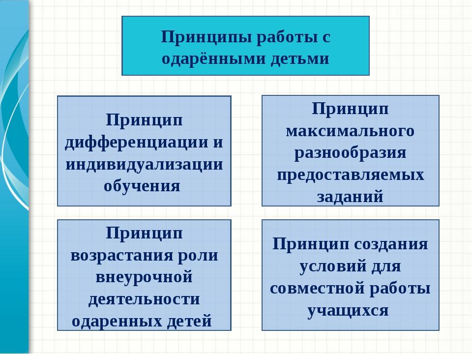 Принципы работы с одарёнными детьми Принцип дифференциации и индивидуализации...