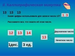 II. Каллиграфическая минутка 13 13 Какие цифры использовали для записи числа