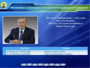 2015 жыл – Назарбаевтың Қазақстан халқына Жолдауы 2015 год – Послание Назарба