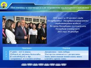 2011 жылғы 10 желтоқсанда Назарбаевтың Назарбаев университеті студенттерімен