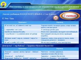 Анализ учебников КАЗАХСКОГО ЯЗЫКА с 1 по 11 класс Еңбек- Труд Денсаулық – зор