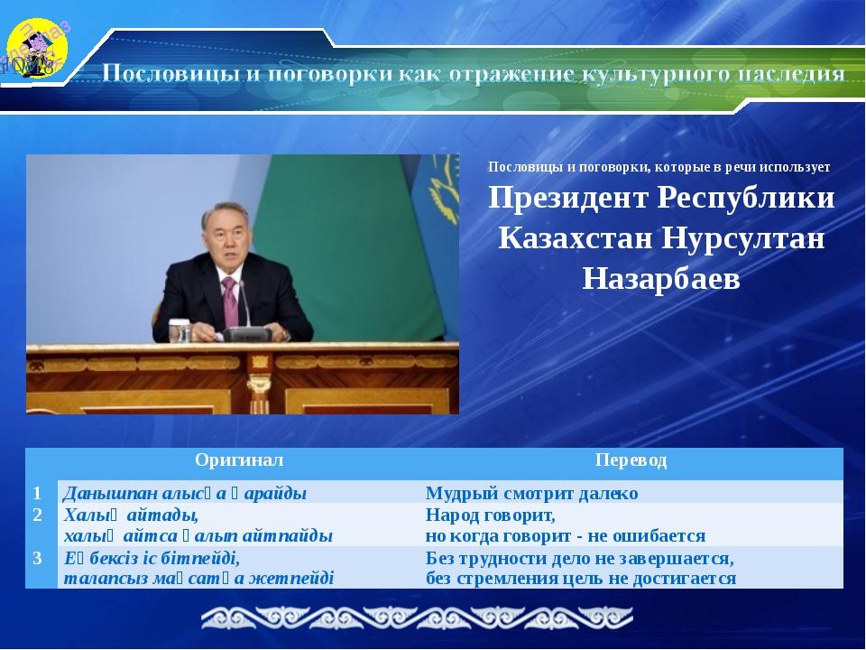 Пословицы и поговорки, которые в речи использует Президент Республики Казахст...