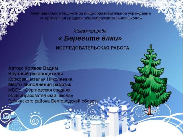 Муниципальное бюджетное общеобразовательное учреждение «Сергиевская средняя...