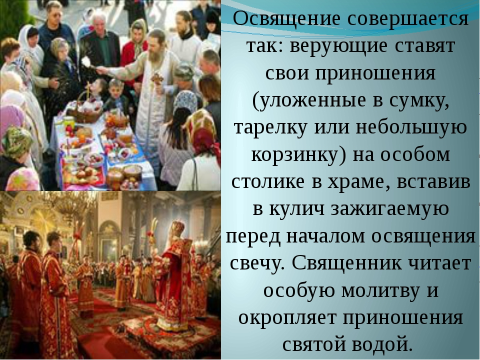 Освящение совершается так: верующие ставят свои приношения (уложенные в сумку...