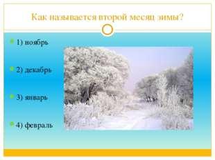 Как называется второй месяц зимы? 1) ноябрь 2) декабрь 3) январь 4) февраль
