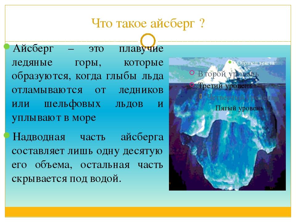 Что такое айсберг ? Айсберг – это плавучие ледяные горы, которые образуются,...