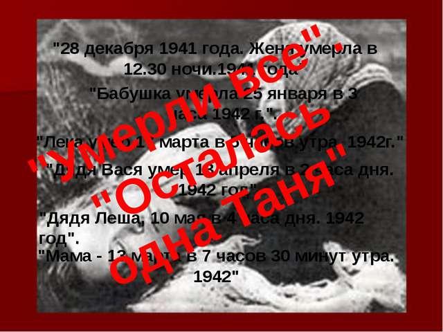 """28 декабря 1941 года. Женя умерла в 12.30 ночи.1941 года"" ""Бабушка умерла 25..."
