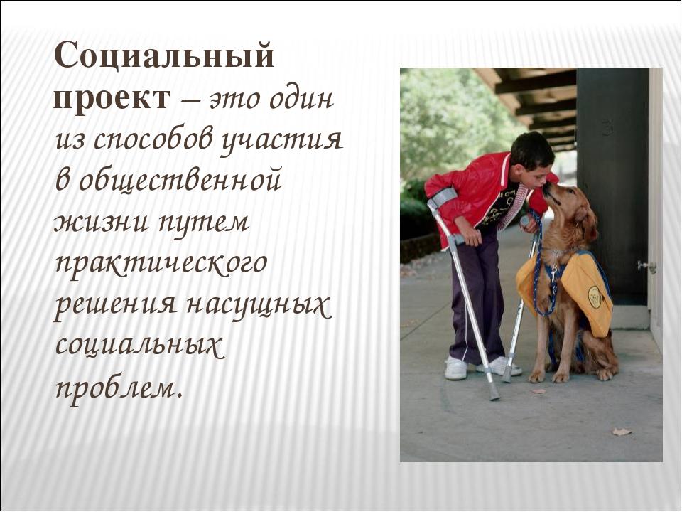 Социальный проект – это один из способов участия в общественной жизни путем п...