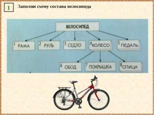 1 Заполни схему состава велосипеда КОЛЕСО ПЕДАЛЬ СПИЦА
