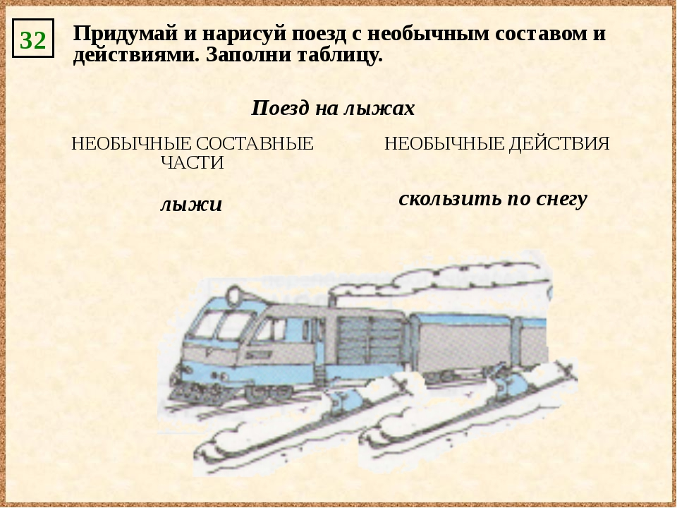 32 Придумай и нарисуй поезд с необычным составом и действиями. Заполни таблиц...