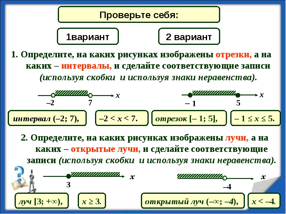 1. Определите, на каких рисунках изображены отрезки, а на каких – интервалы,...