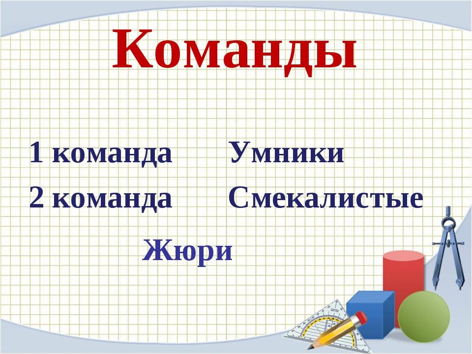 Команды 1 команда Умники 2 команда Смекалистые Жюри