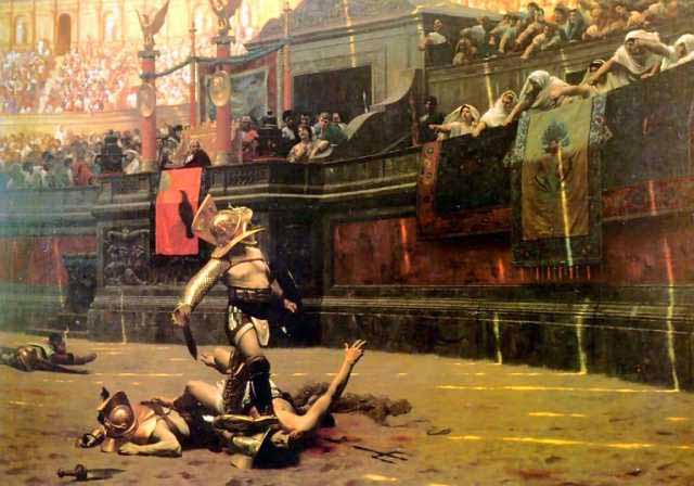 Скачать рим, империя, арена, толпа, люд, колизей, хлеба и зрелищ, гладиатор, боец, воин, шлем, картина, битва, поединок, жизнь и