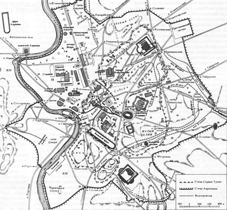 История Древнего Рима : Карты - Схематический план Рима