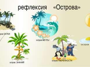 рефлексия «Острова» остров ЗНАНИЙ остров МЕЧТЫ остров УВЕРЕННОСТИ остров СКУКИ
