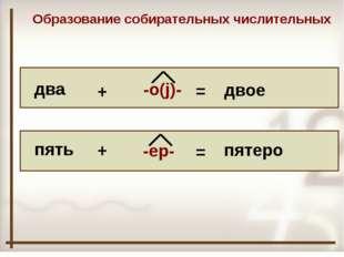 два пять + + -о(j)- -ер- = = двое пятеро Образование собирательных числитель