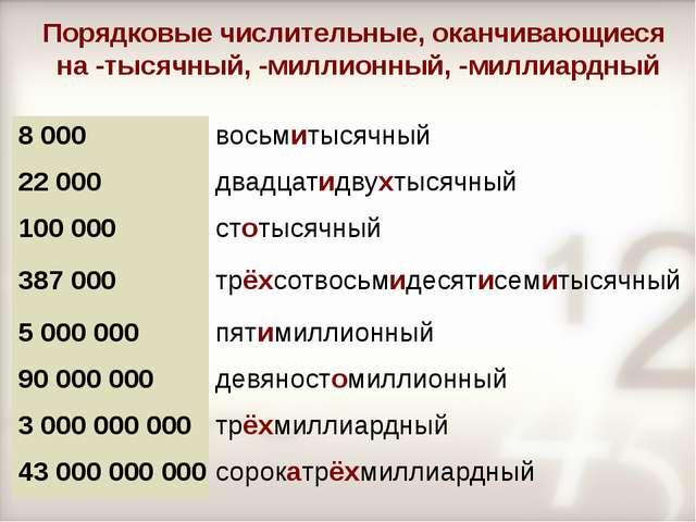 Порядковые числительные, оканчивающиеся на -тысячный, -миллионный, -миллиардн...