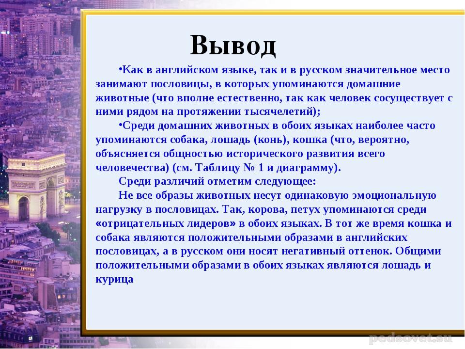 Вывод Как в английском языке, так и в русском значительное место занимают пос...