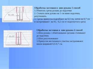 Обработка застежки в шве рукава 1 способ 1.Обметать срезы рукава до надсечки
