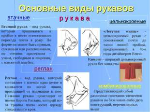 Основные виды рукавов р у к а в а реглан цельнокроеные втачные комбинированн