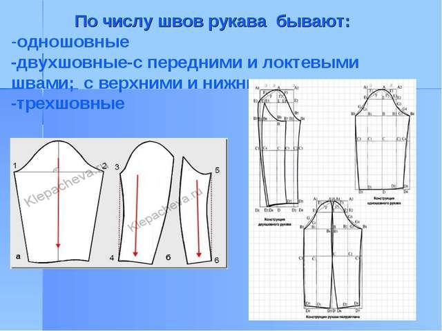 По числу швов рукава бывают: -одношовные -двухшовные-с передними и локтевыми...
