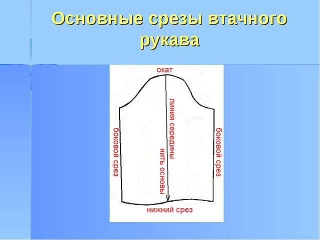 Основные срезы втачного рукава